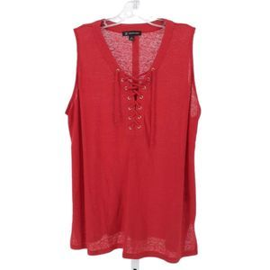 INC Red Lace Up With Side Slits Tank 2X